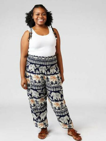 Surapa Dark Blue Plus Size Harem Pants