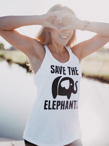 Save the Elephants White Tank Top