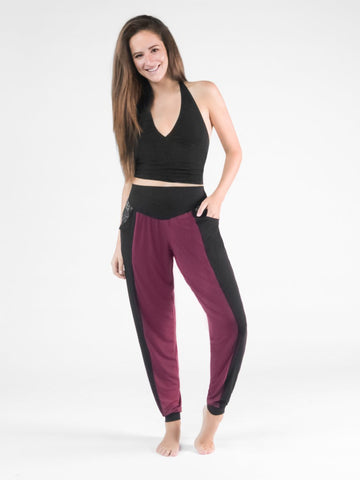 Kihari Black/Burgundy Two Tone Striped Yoga Pants