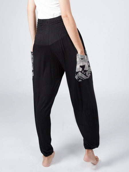 Kihari Black Stretch Harem Pants