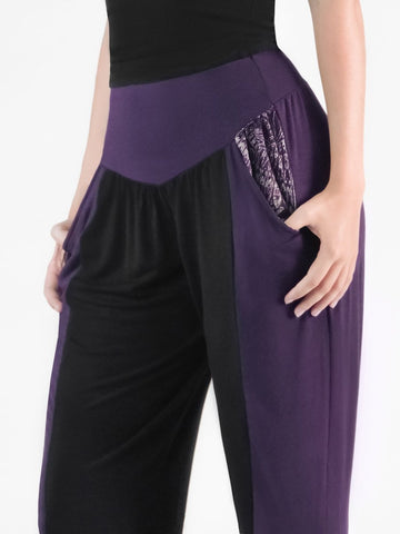 Kihari Plum/Black Two Tone Striped Yoga Pants