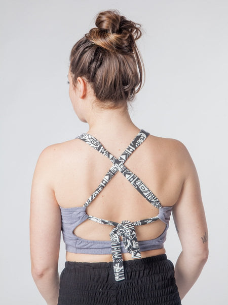 Kihari Gray Cross back Yoga Crop Top