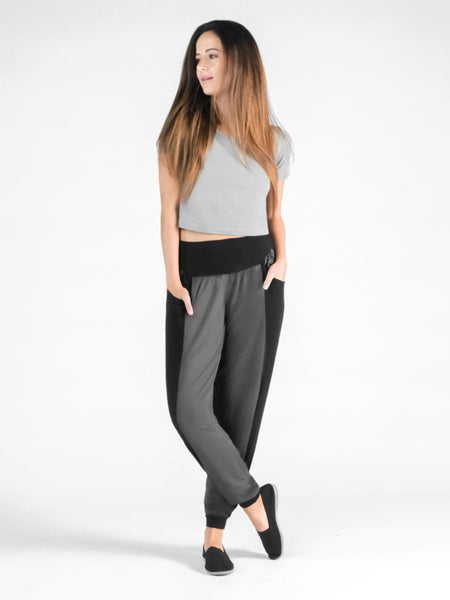Kihari Black/Gray Two Tone Striped Yoga Pants