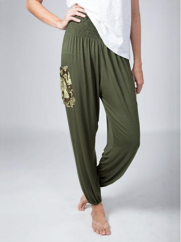 Kihari Olive Stretch Harem Pants