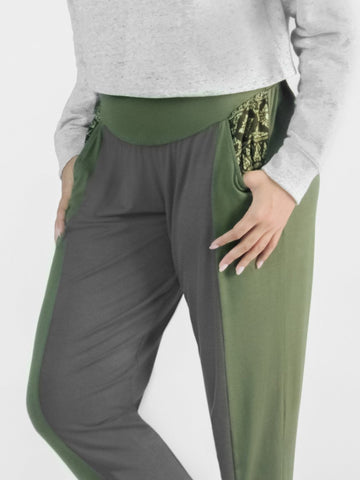 Kihari Olive/Gray Two Tone Striped Yoga Pants