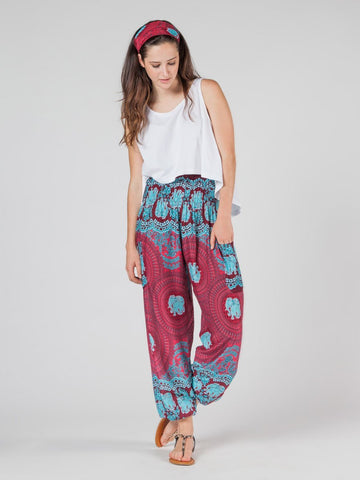 Nellie Burgundy Harem Pants