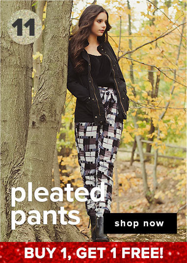 Buy one pleated pant, get the 2nd free