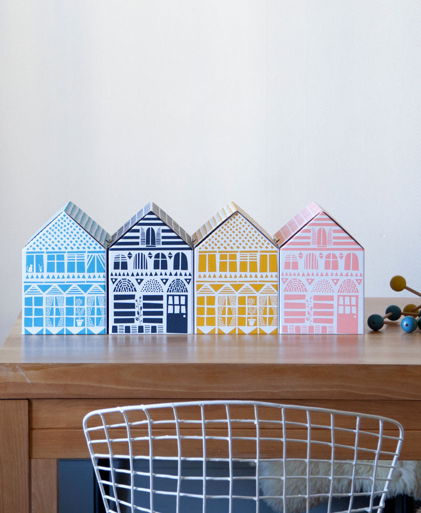 Handmade House Boxes 4-Piece Set