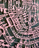 Amsterdam Paper Cut Map Pink