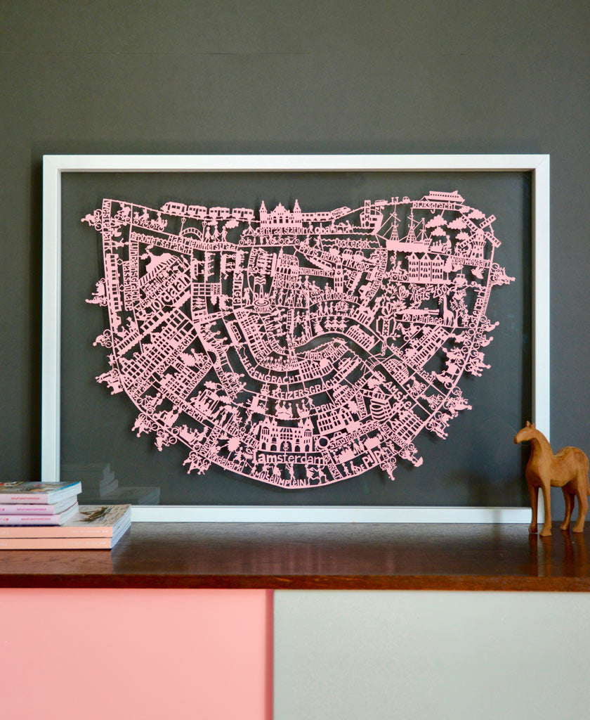 Amsterdam map. Beautiful paper cut map of Amsterdam. Available in different colours. designed by Julie Marabelle for Famille Summerbelle.