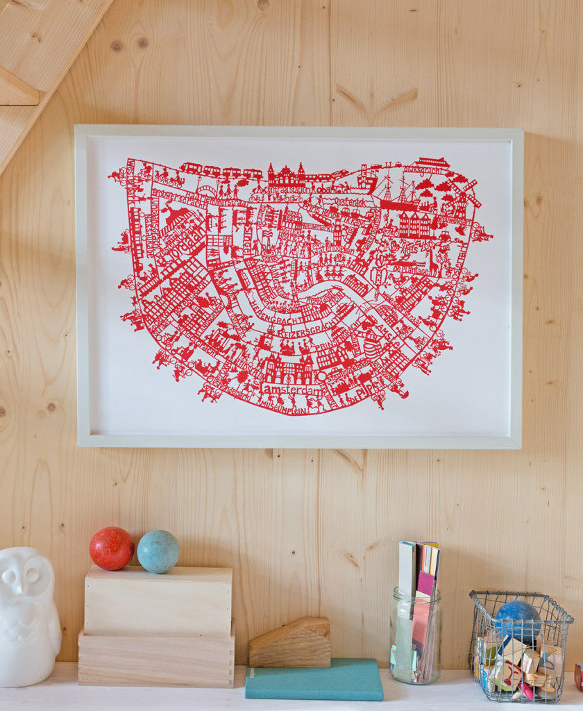 Amsterdam map art print. Hand screen printed in red. Print size 50 x 70cm
