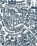 Amsterdam wall art map in blue. Hand screen printed on high quality paper