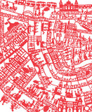 Amsterdam Map wall art print. Hand screen printed in red