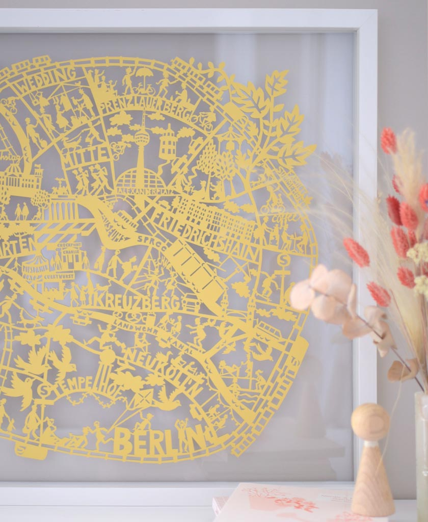 Berlin paper cut map. Stunning limited edition in gold. Designed by Julie Marabelle for Famille Summerbelle.