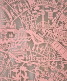 Berlin map in pink. Beautiful paper cut map from an original hand paper cut designed by Julie Marabelle.