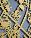 Beautiful limited edition paper cut map of Copenhagen in gold illustrated by Julie Marabelle for Famille Summerbelle