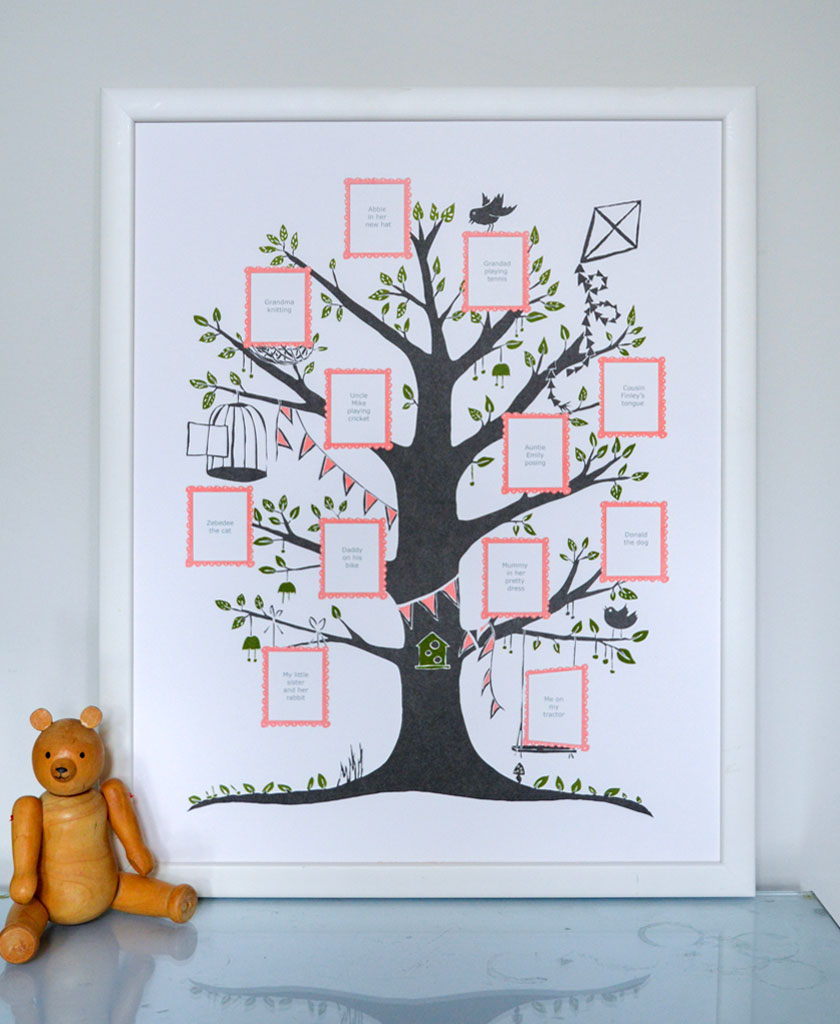 Add photos of your loved ones in this best selling Family Tree print by Famille Summerbel