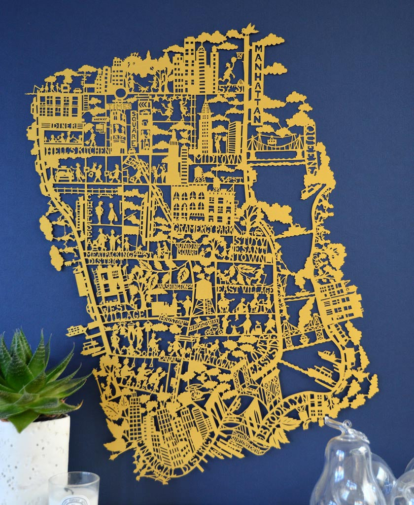 Beautiful limited edition in gold of the paper cut map of New York City by Famille Summerbelle