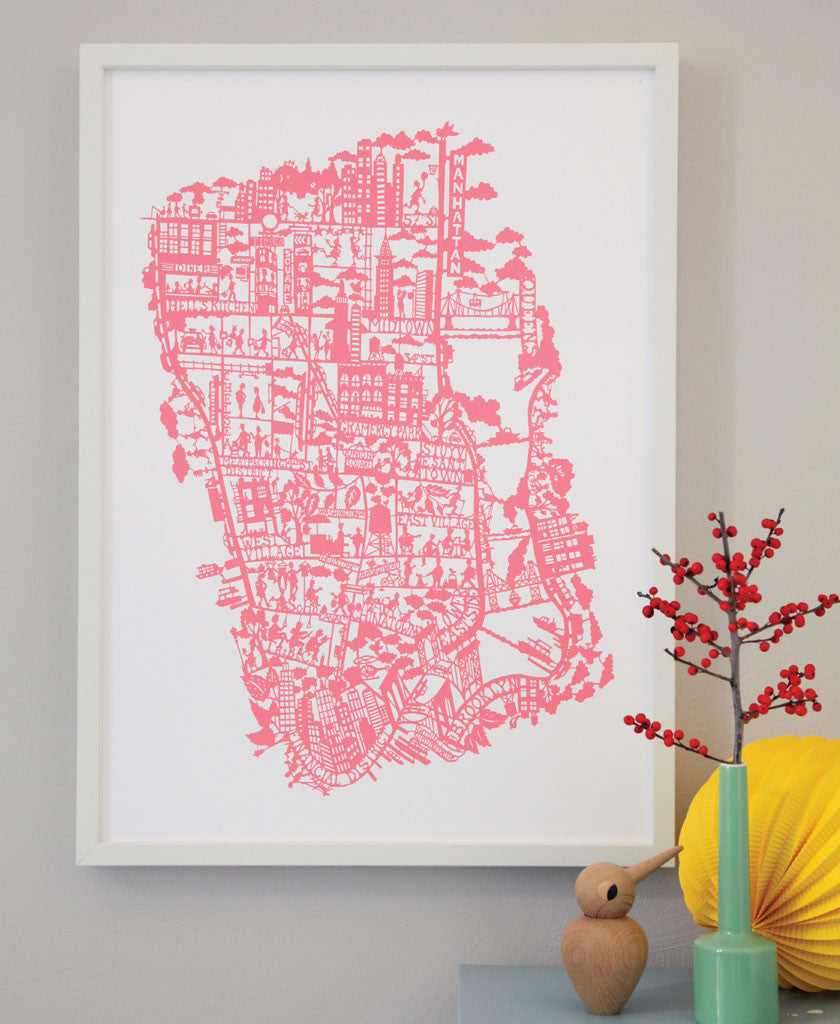 New York City Hand Screen Printed City Map Famille Summerbelle - Nyc map to print