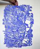 New York City Paper Cut Map Blue