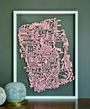 New York City Paper Cut Map Pink