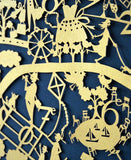 Beautiful limited edition in gold of the paper cut map of Paris by Famille Summerbelle