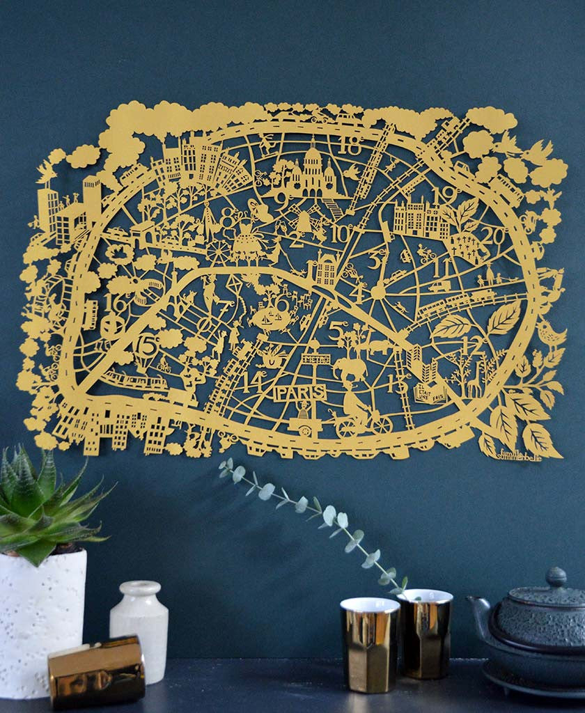 Limited Edition Paper Cut map of Paris in a beautiful Gold paper