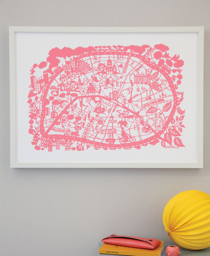 Hand Screen Printed Map Prints Famille Summerbelle - Artistic map of paris