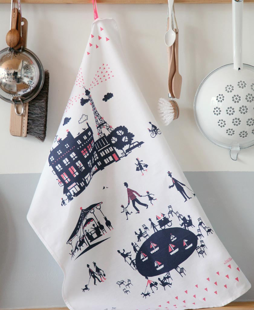 Famille Summerbelle Online Gift Store, papercuts, Paintings Germany  Paris Tea Towel