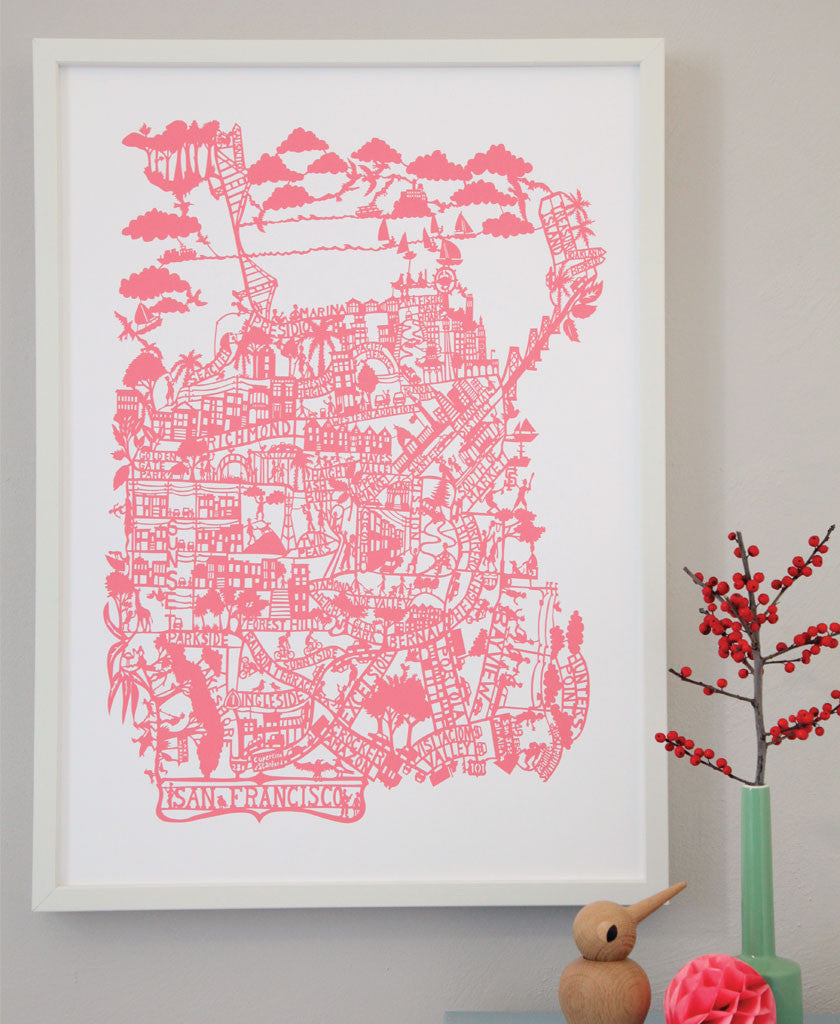 Hand Screen Printed Map Prints Famille Summerbelle - Nyc map to print