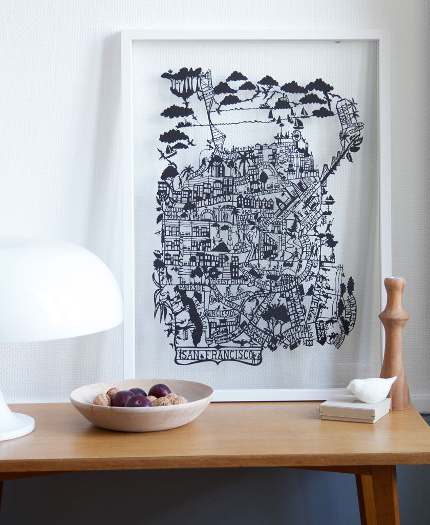 Beautiful paper cut map of San Francisco by Famille Summerbelle