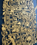 Beautiful limited edition in gold of the paper cut map of San Francisco by Famille Summerbelle