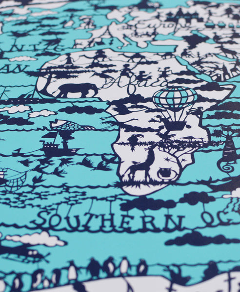 World map hand screen print famille summerbelle world map print world map print gumiabroncs Image collections