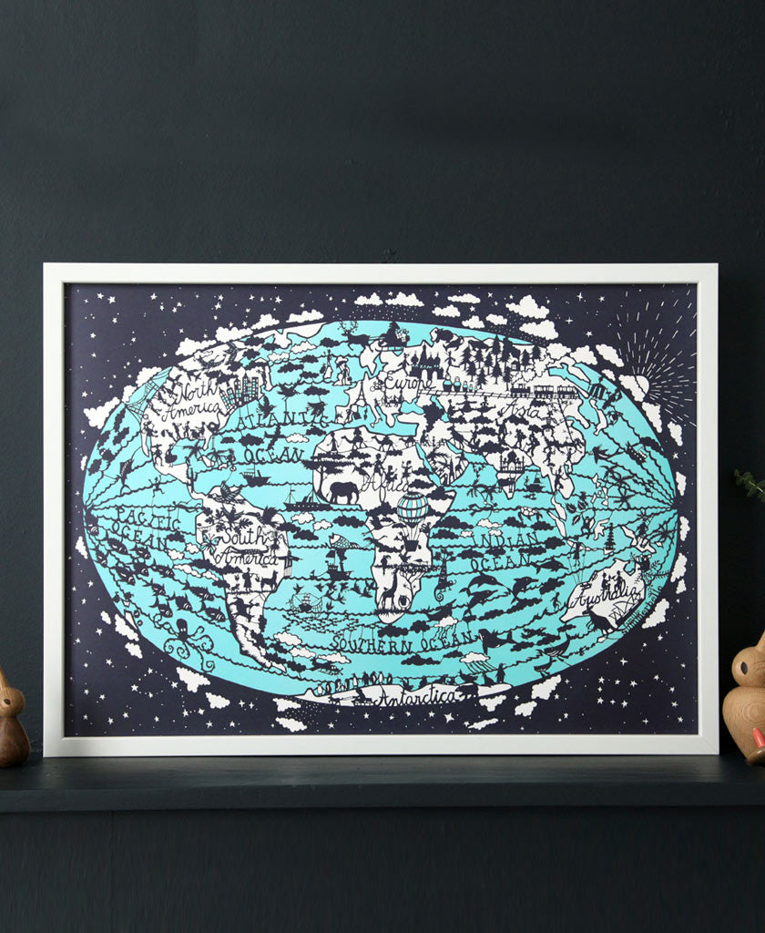 World Map Image For Print. World Map Print Hand Screen  Famille Summerbelle