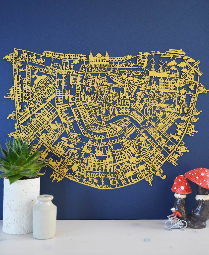 Amsterdam paper cut map. Stunning limited edition in gold. Designed by Julie Marabelle for Famille Summerbelle.