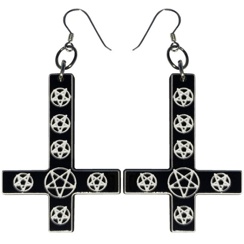 Inverted Cross Mini Pentagram Earrings Black
