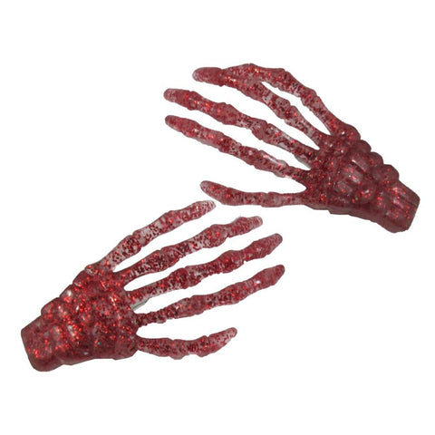 Skeleton Bone Hand Hairslides Red Glitter