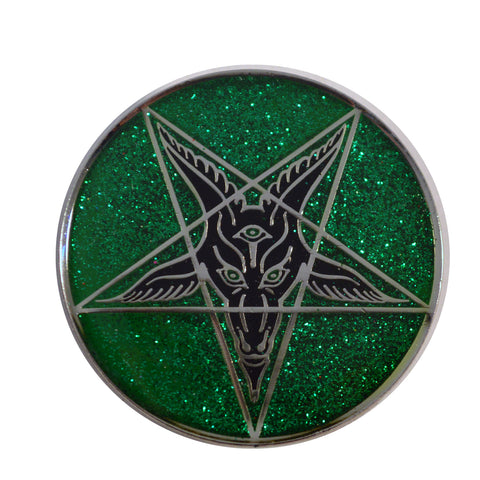Glitter Goat Baphomet Enamel Pin Badge Green