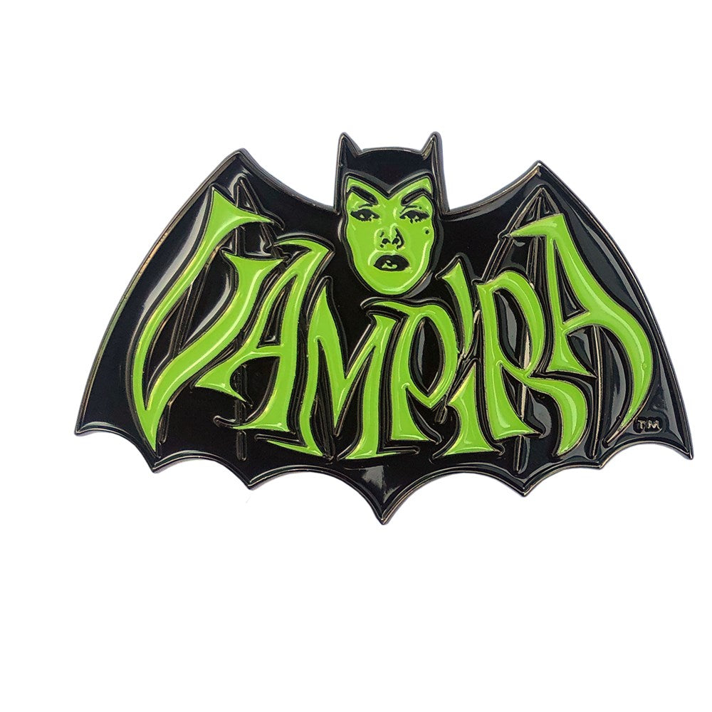 Vampira Retro Bat Green Enamel Pin
