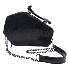 Skull Stud Croc Coffin Purse Bag