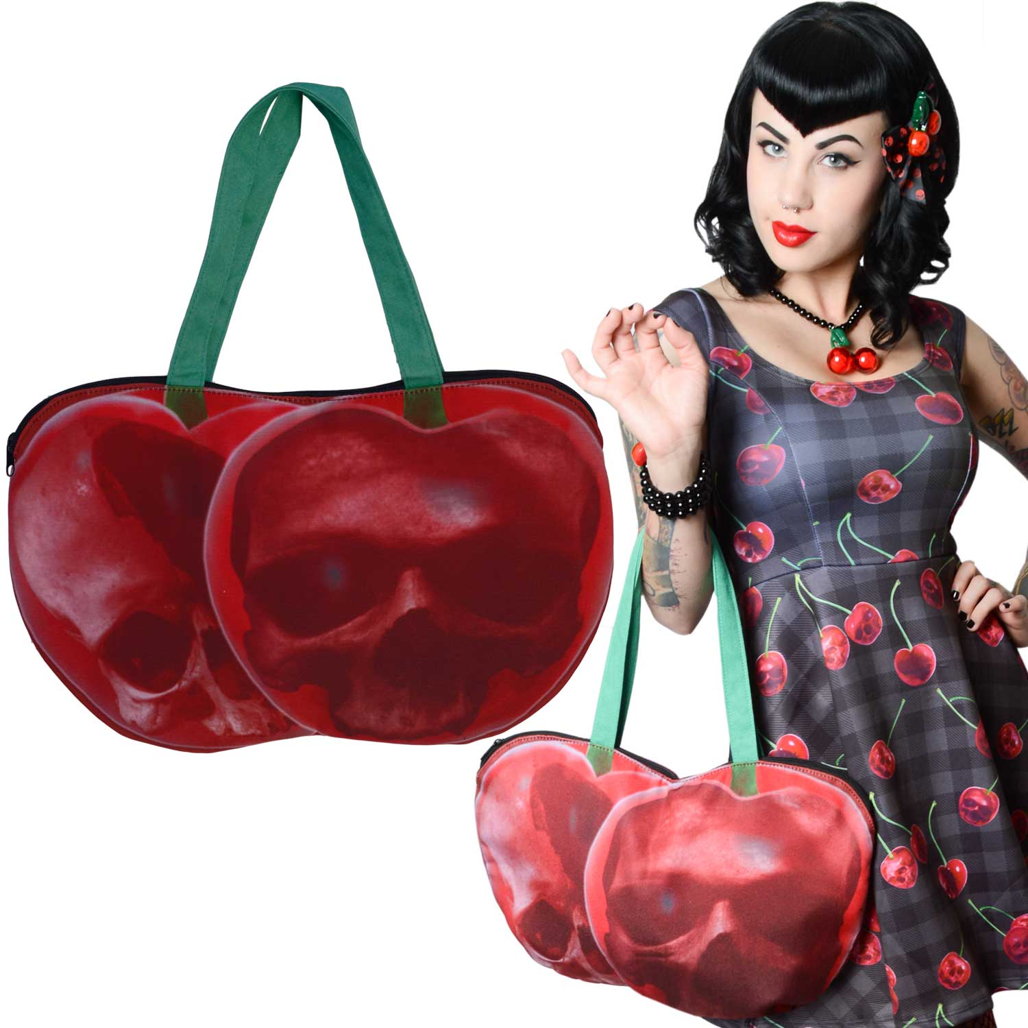 Cherry Skull Shoulder Zip Tote Bag