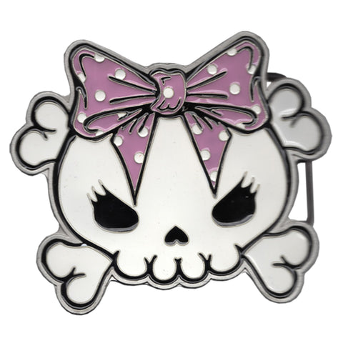 Skully Bow Pink Belt Buckle