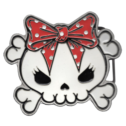 Skully Bow Red Belt Buckle