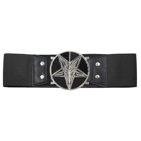 Elastic Waist Belt Goat Head Black