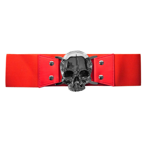 Elastic Waist Belt Skull Red