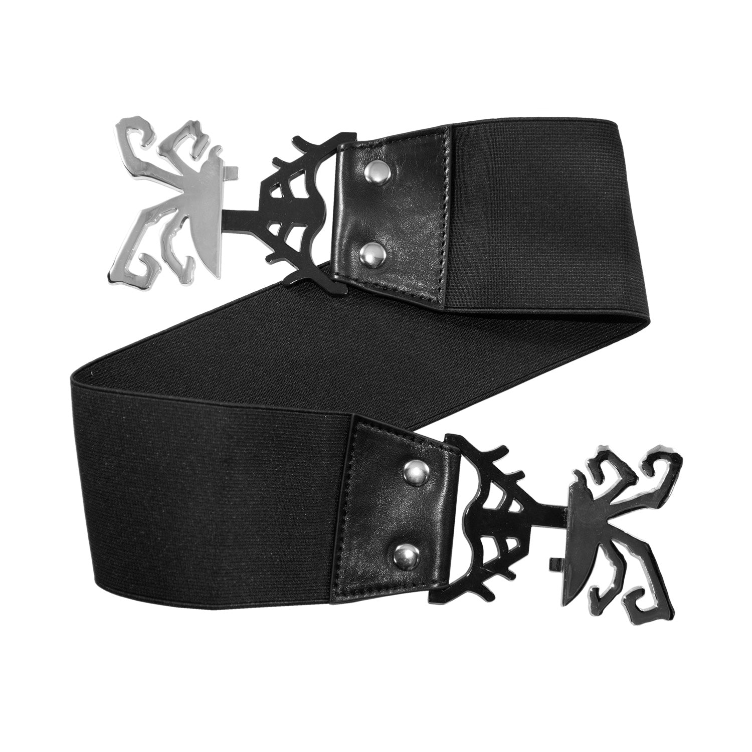 Elastic Waist Belt Spiderweb Black