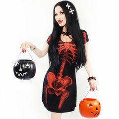 Skeleton Halloween Flare Dress