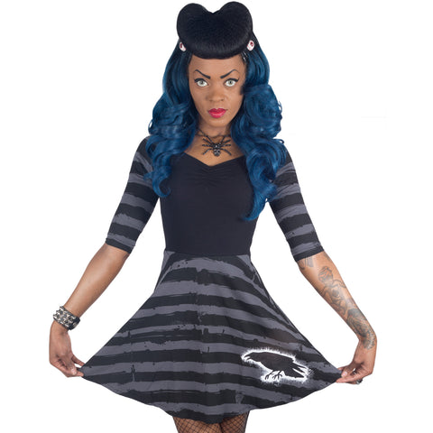 Nevermore Striped Skater Dress