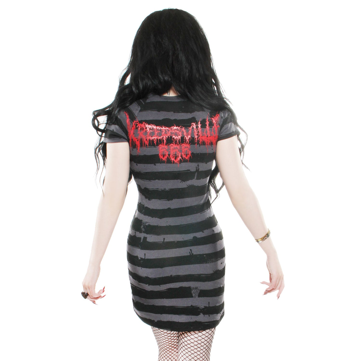 Skeleton Red Striped Dress