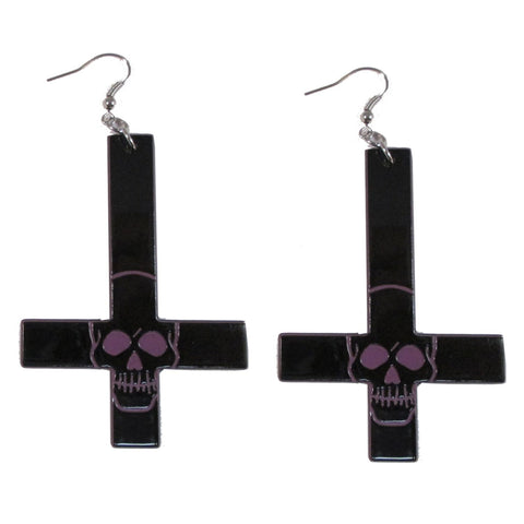 Inverted Cross Skull Earrings Purple